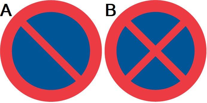 Skyltar som anger förbud mot att parkera och stanna