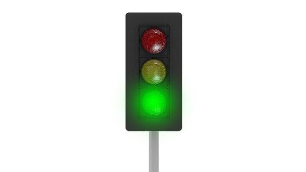 Ett grönt trafikljus