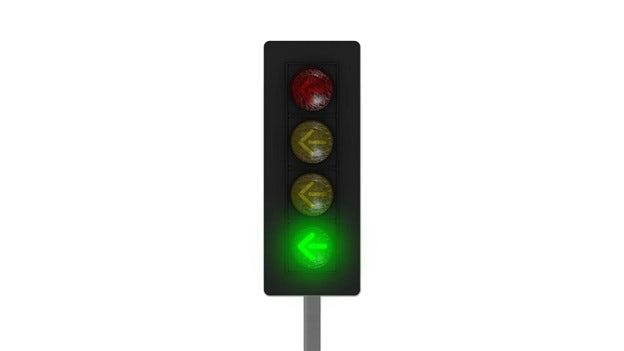 Trafikljus med grön pil