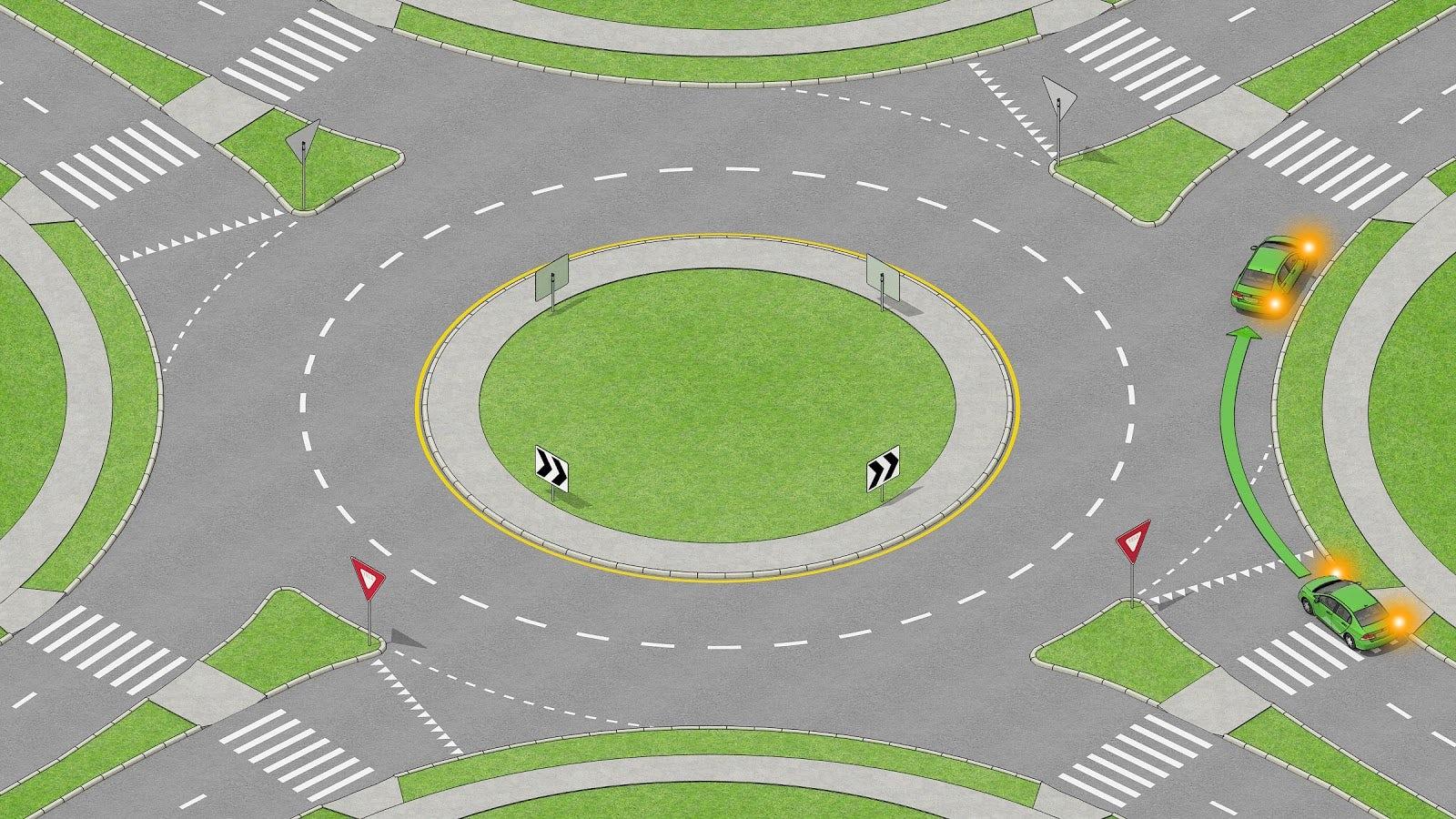 Bil som svänger höger i en rondell