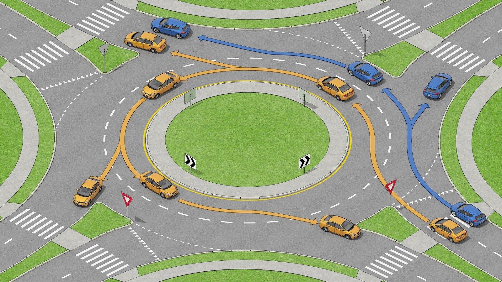 Bilar som kör i en rondell