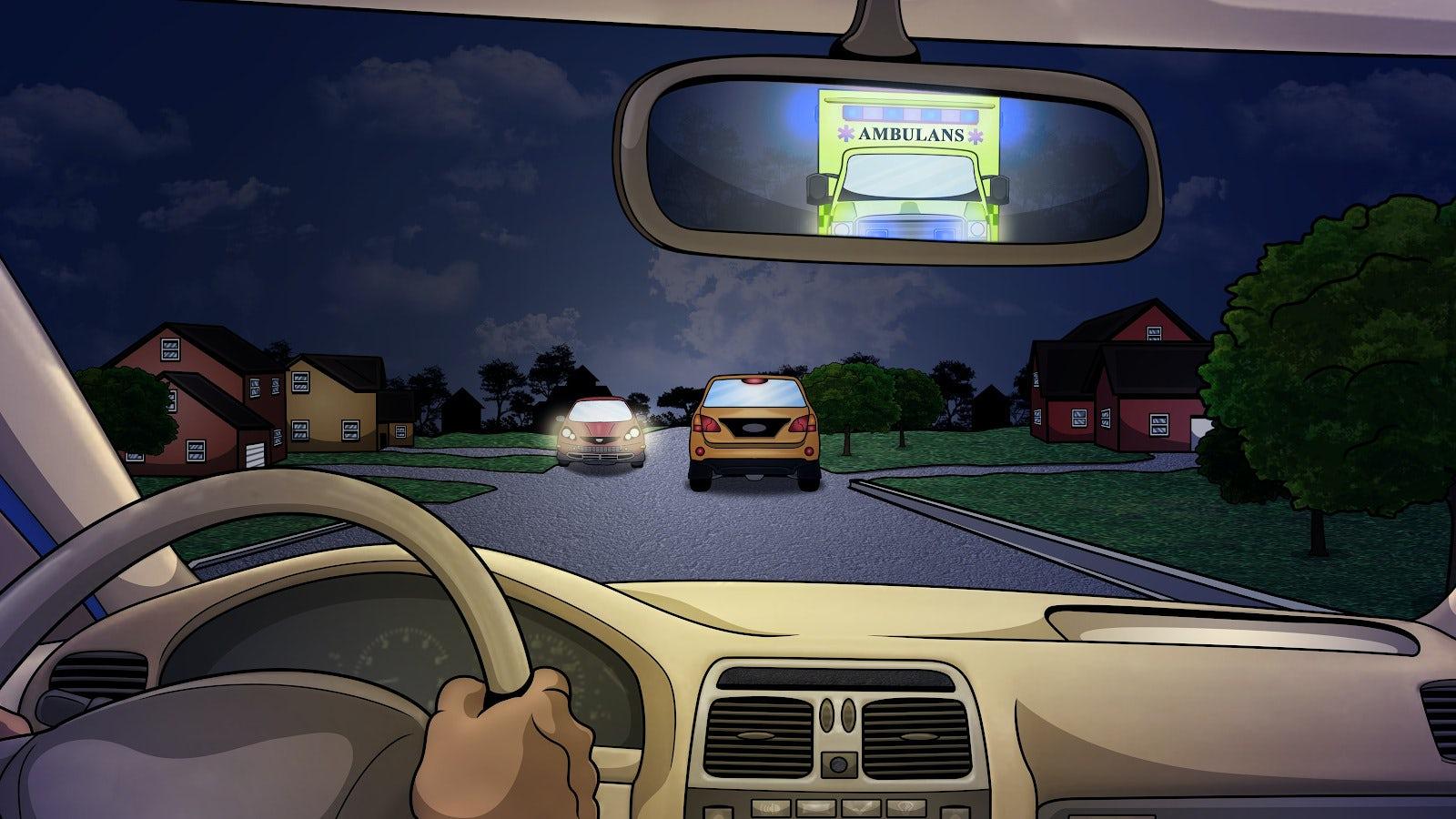 Bilist ser i backspegeln att ambulans kör bakom och vill förbi.