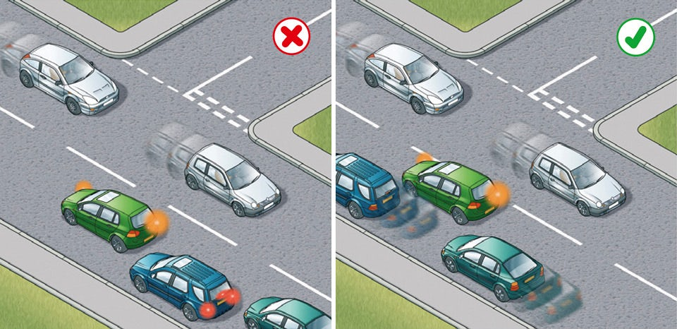 Rule 180: Position your vehicle correctly to avoid obstructing traffic