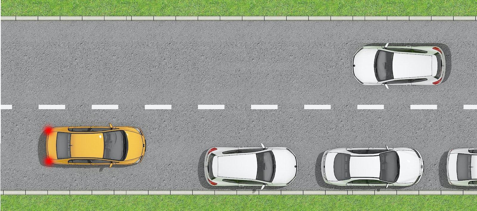 Illustration på bil som måste lämna företräde pga hinder på vägen.