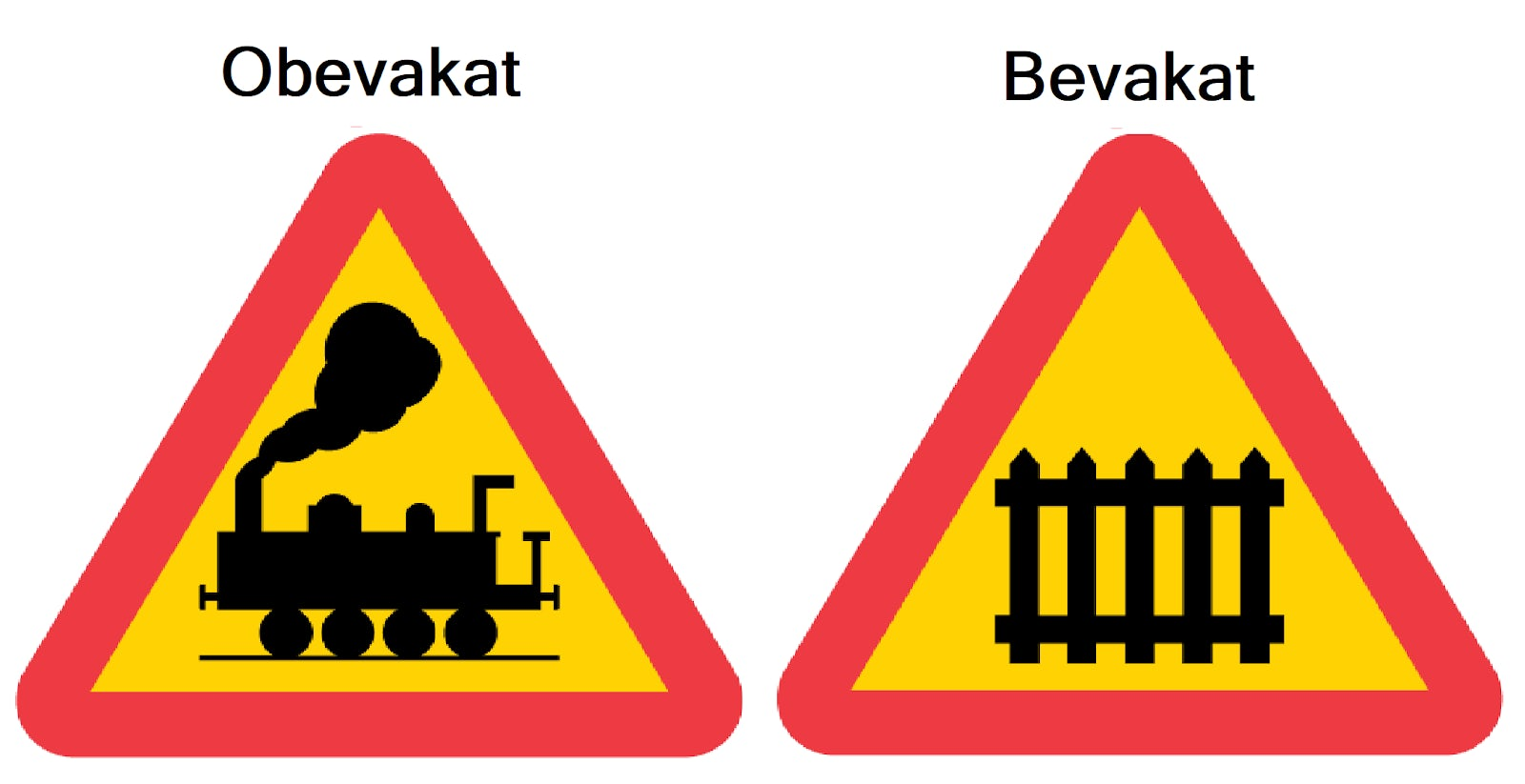 Tre avståndsmärken järnvägskorsning