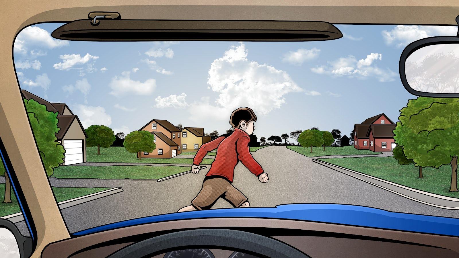 Barn springer ut i gatan framför en bil.