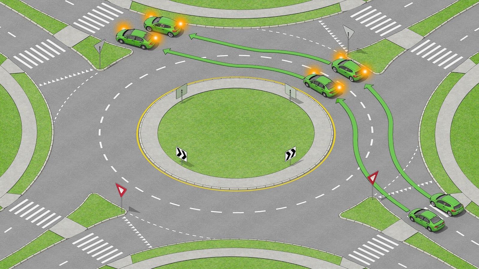 Två bilar som kör i en tvåfilig rondell