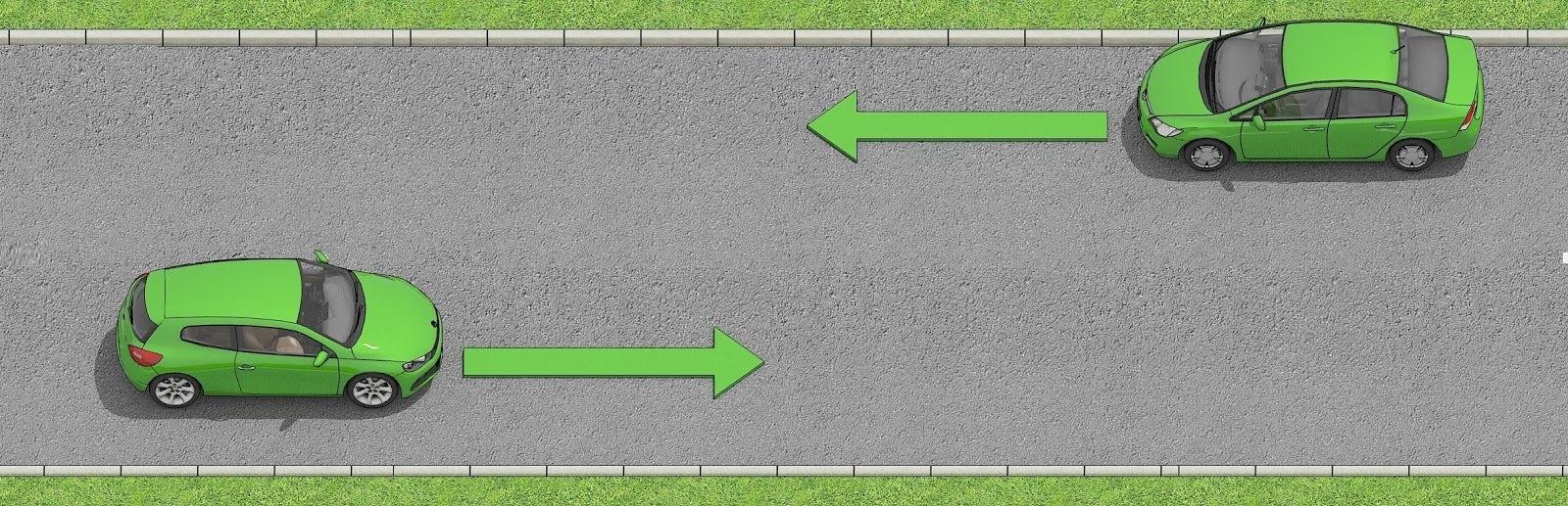 Två bilar möts på en väg där det är inte finns en mittlinje.