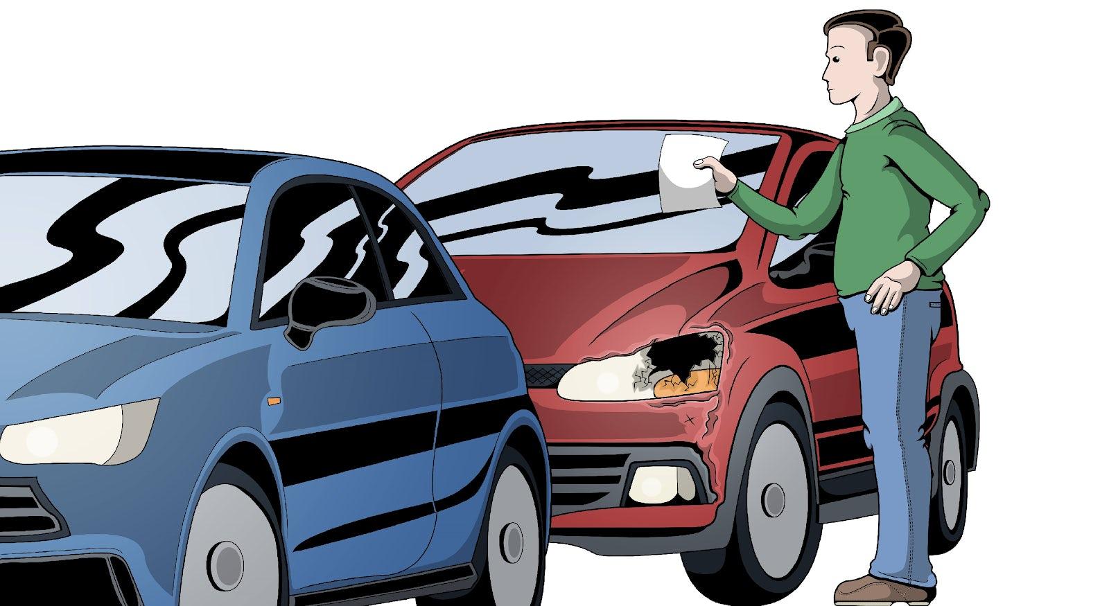 Person som upptäcker att hans bil fått en parkeringsskada och sätter en lapp på en annan bils vindruta.