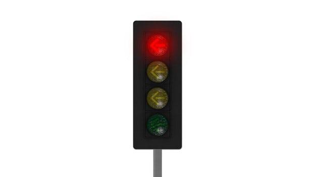 Ett trafikljus med röd pil