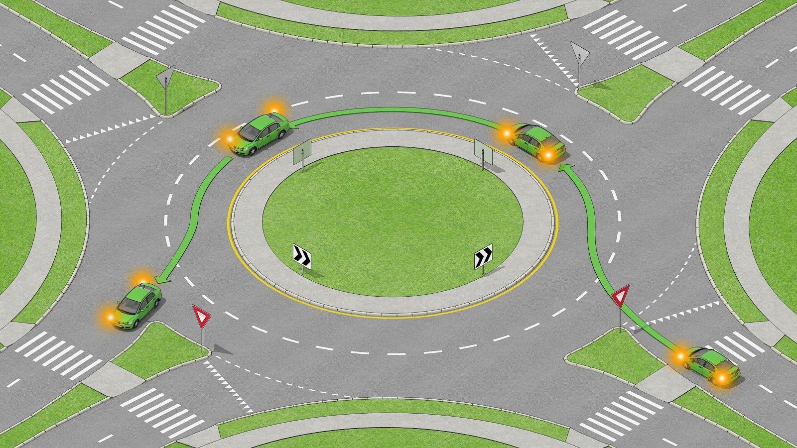 Bil som gör en vänstersväng i en rondell